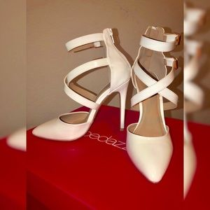White heels - Faux Patent Leather